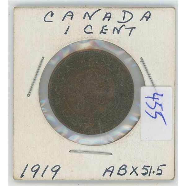 1919 Canadian One Cent Coin