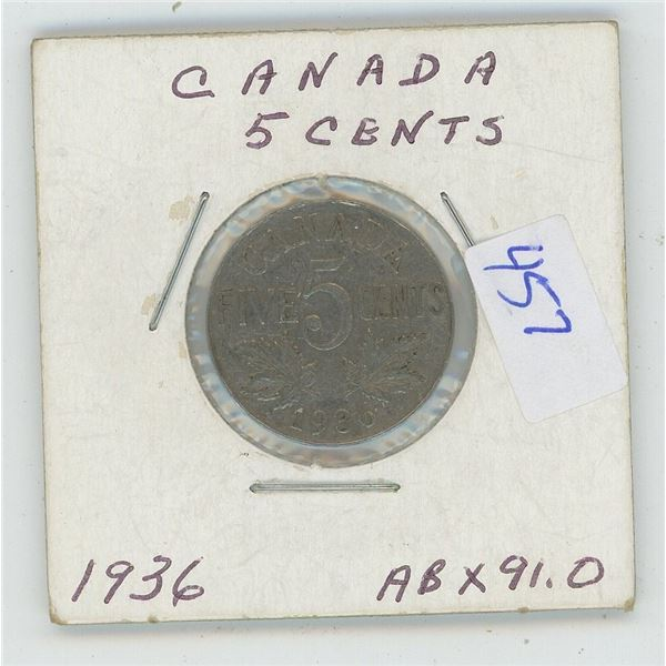 1936 Canadian 5 Cent Coin
