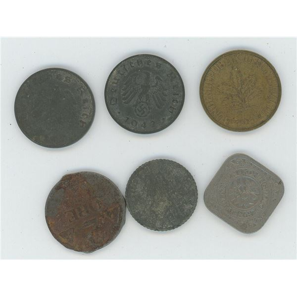 4 German Coins from the 40s t the 70s, 1 Dutch 5c Coin and one Swedish/Norwegian coin (2 Ore)