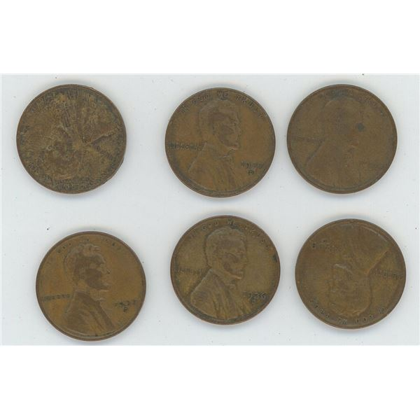 6 X  1936 -1938 United States One Cent Coins