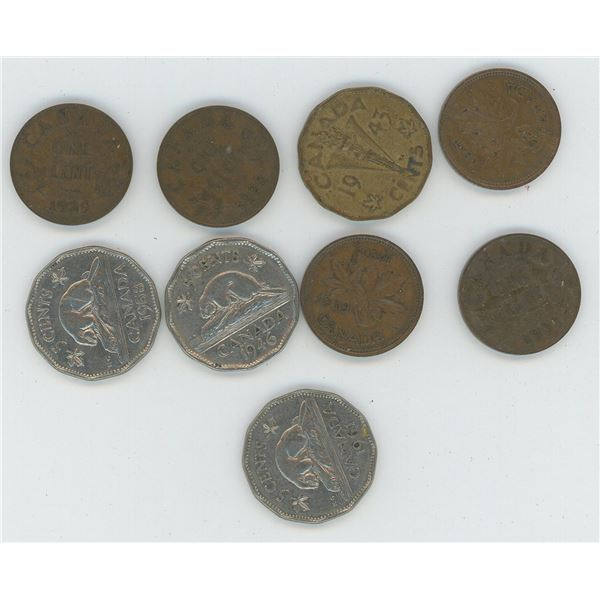 6 X Various Canadian One Cent Coins & 3 X Canadian 5 Cent Coins