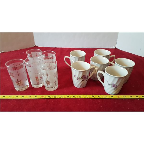 Lot of 6 Matching Mugs & 6 Matching Glasses