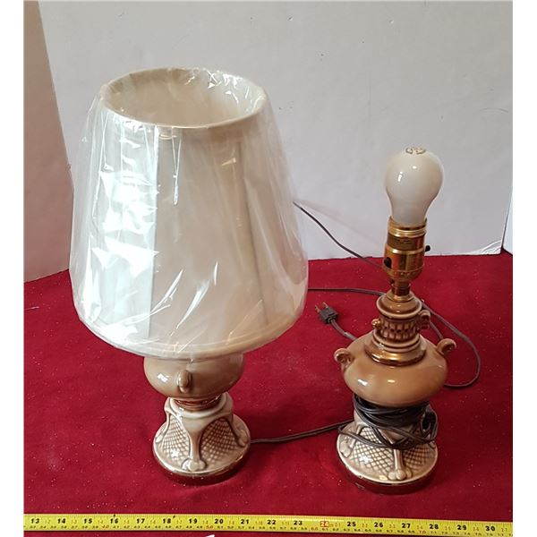 2 Vintage Lamps - One Missing Shade