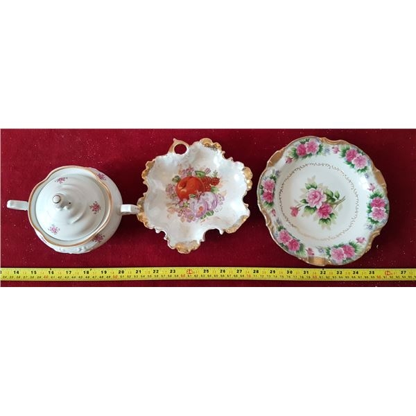 Lot of Decorative Dishes (Japan) & Sugar Bowl (Made In Poland)