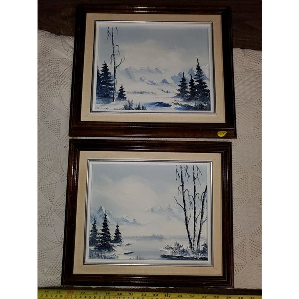 """TWO FRAMED PAINTINGS - """"PHANEUF"""" 12X14"""""""