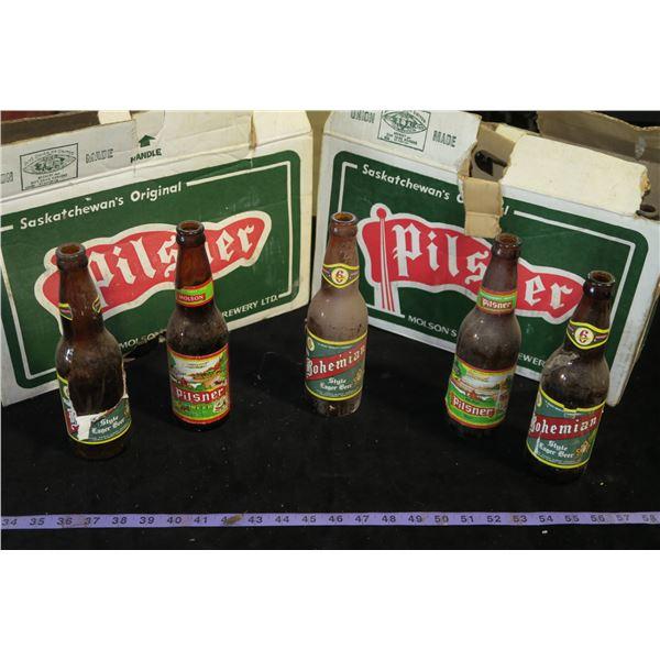 2 Vintage Pilsner Cases w/ Mixed Bohemian and Pilsner Bottles