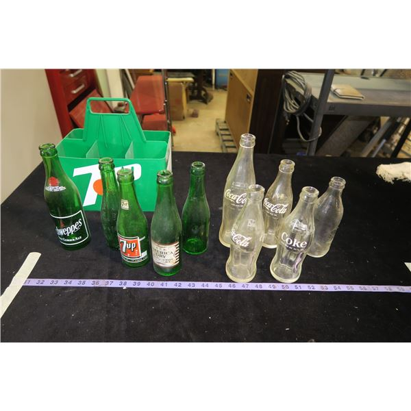 Coke, 7up, & misc. Soda Bottles with 7up Crate