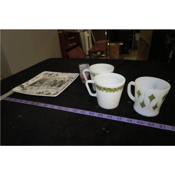 1 Fire King Mug, 2 Pyrex Mugs, Pair Shot Glasses (One Broken)
