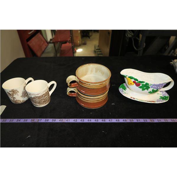 Misc. Dishware: Gravy Boat, Handled Bowls, Mugs