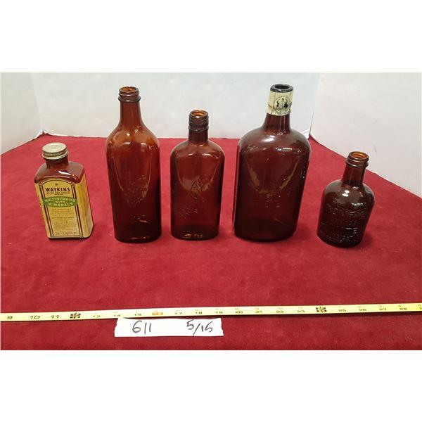 Lot Vintage Amber Glass