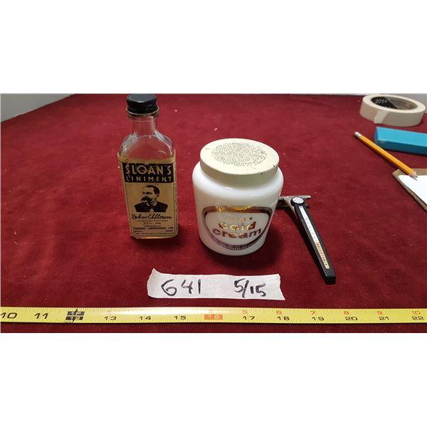 Liniment Bottle & Cream & Vintage Razor