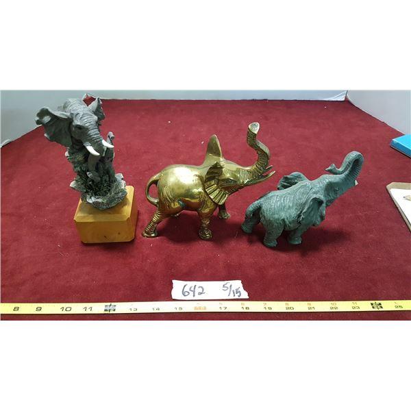 3 Elephant Figurines (1 Brass)