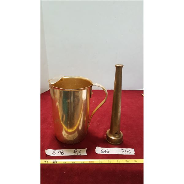 Metal Water Pitcher & Brass fire hose nozzle