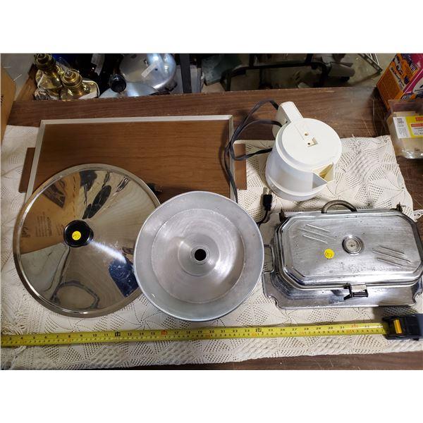 BOX OF KITCHEN -WAFFLE MAKER, KETTLE, WARM PLATE
