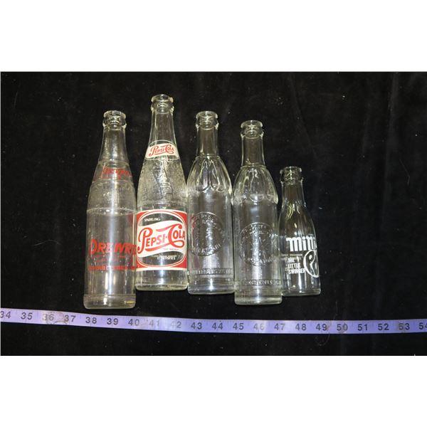 Vintage Pepsi Bottle (Chipped), 2 Saskatoon Starlite Bottles, Drewry's, Mini Pop