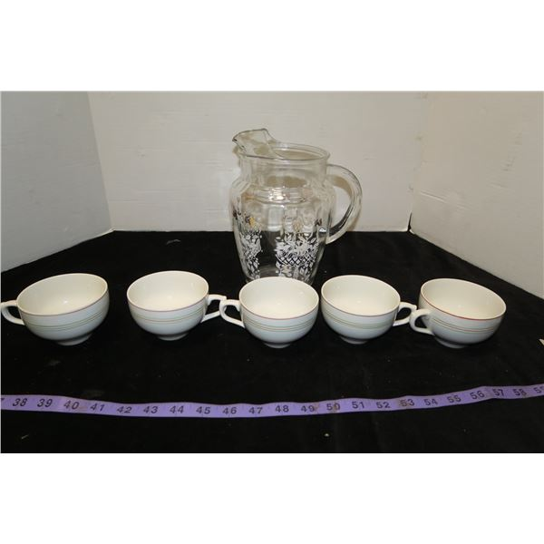 Lot of Teacups & Pitcher