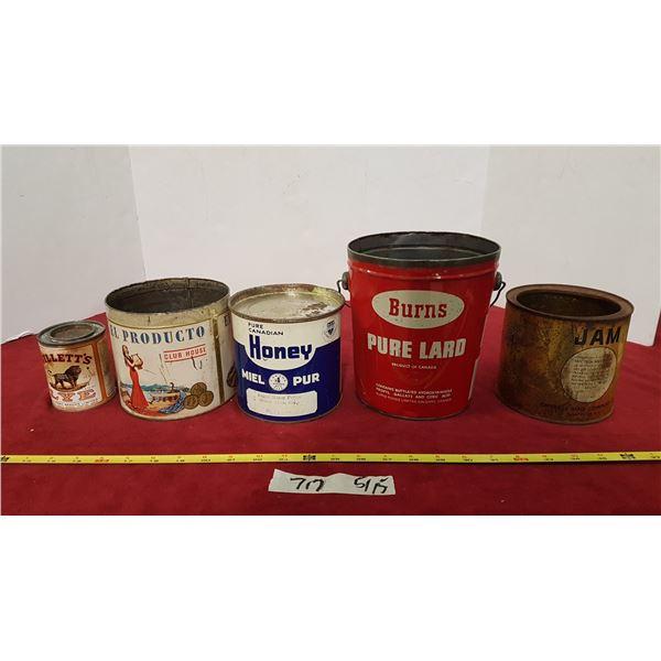 5 Vintage Food Tins