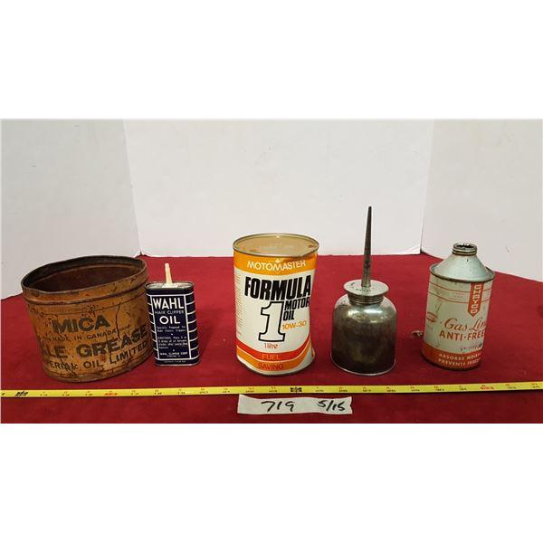 4 Vintage Tins & Oiler