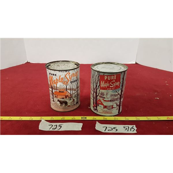 2 Maple Syrup Tins