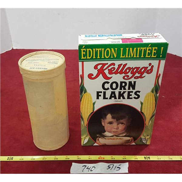 Corn Flakes Box & Ice Cream Container