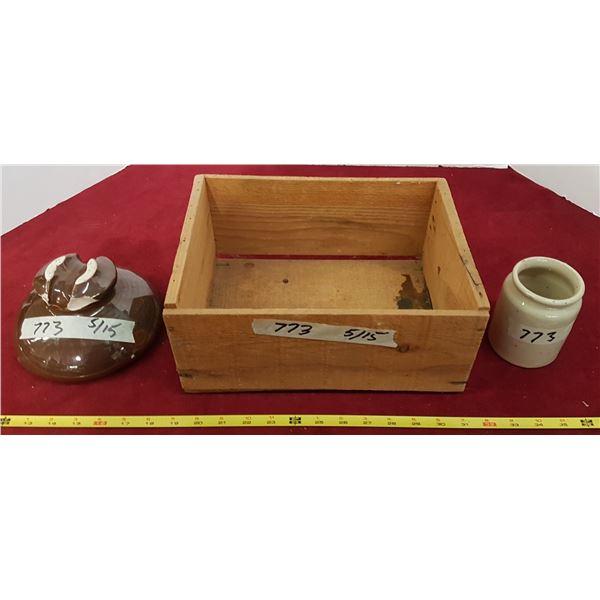 2 Crock Pieces & Crate
