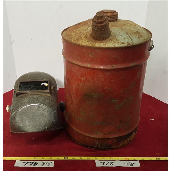 Gas Can & Vintage Welding Helmet