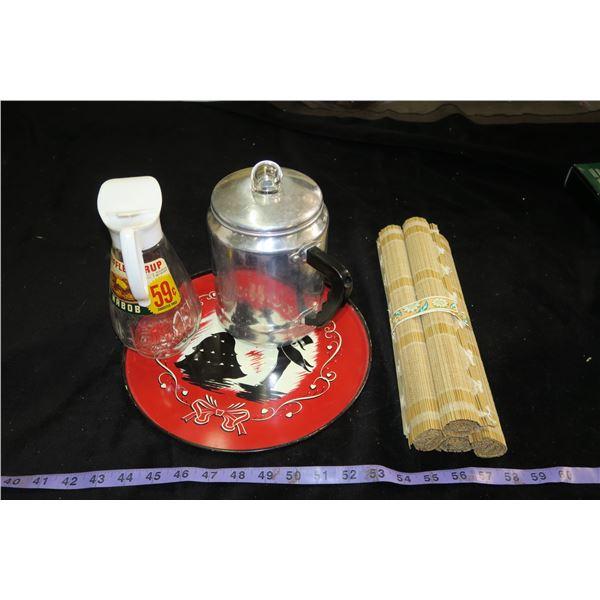 Vintage Coffee Maker, Serving Tray, Nabob Syrup Jar, Wood Mats