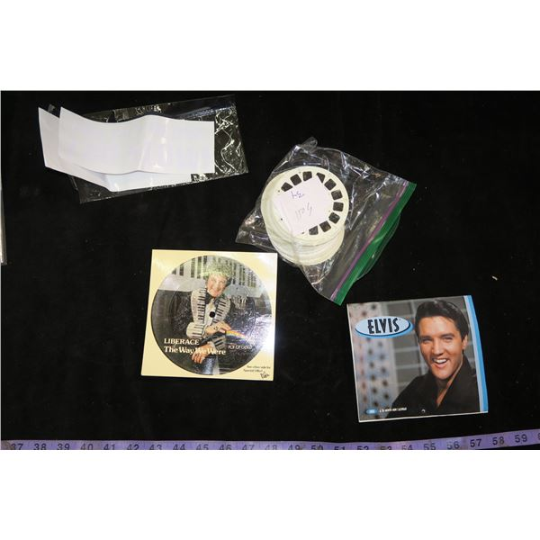 Liberace Paper Record, Elvis Calendar, Viewfinder Slides & Road Rage Decal