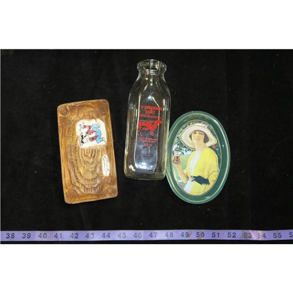Vintage Milk Bottle, Repro. Coke Tip Tray, & Other Tip Tray