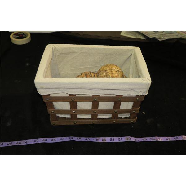 Basket w/ Wood Carved Balls
