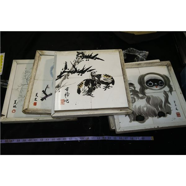 Lot of Nature Themed Oriental Paintings