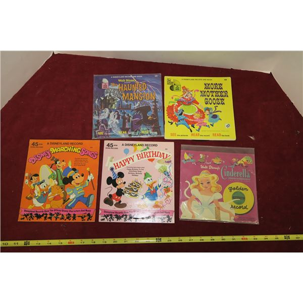 Lot of Disney 45 RPM Childrens Records/Books