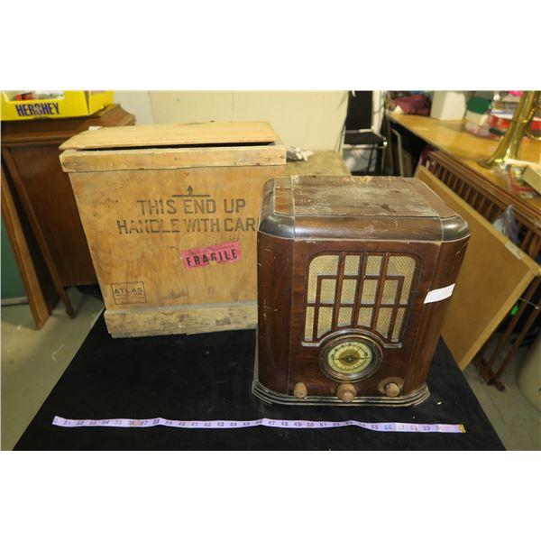 Vintage Radio & Shipping Crate