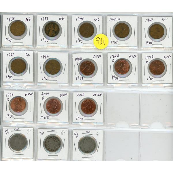 Collection of 13 American pennies & 3 nickels