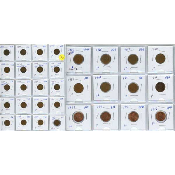 Collection of pennies 1940-1976 32 coins - 1965 SBBS var 2 X2