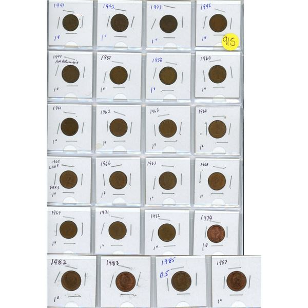 Collection of pennies 1941-1987 24 pennies 1965 LBBS var 3