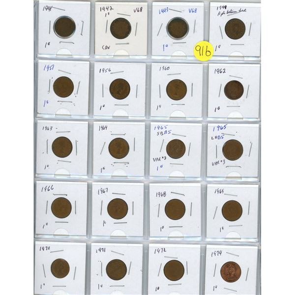 Collection of pennies 1941-1974 20 pennies