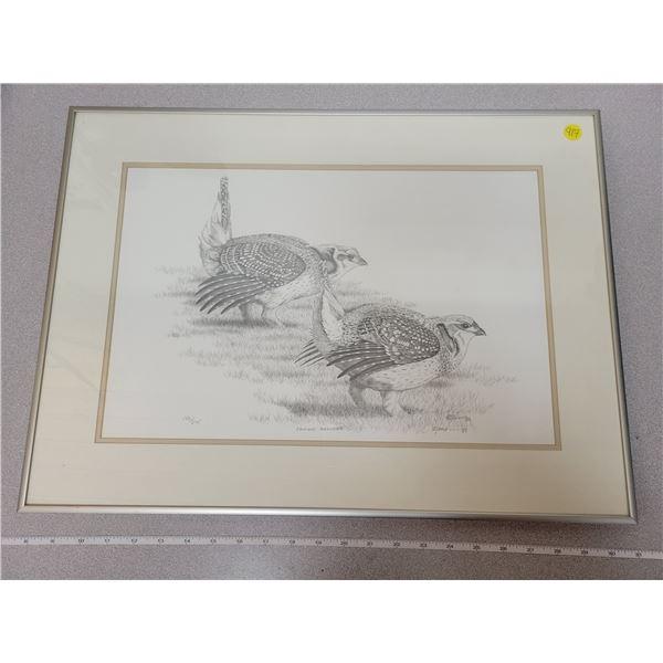 "framed print ""Prairie Dancers"" pair of grouse 182/275"
