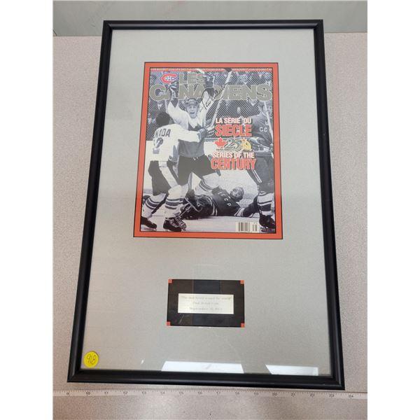 Framed photo/print 1875 Russia/Canada series Paul Henderson goal, signed by Paul Henderson - believe