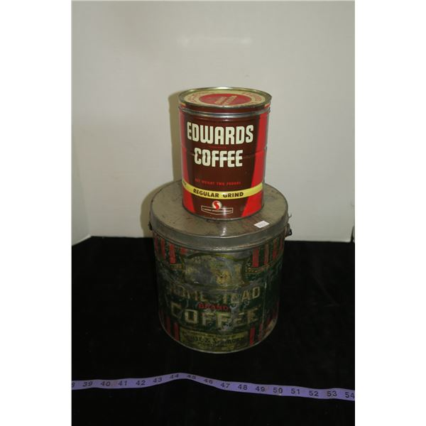 2 Vintage Coffee Tins, Homestead Brand & Edwards