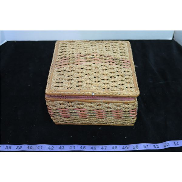 Vintage Weaved Sewing Box + Contents