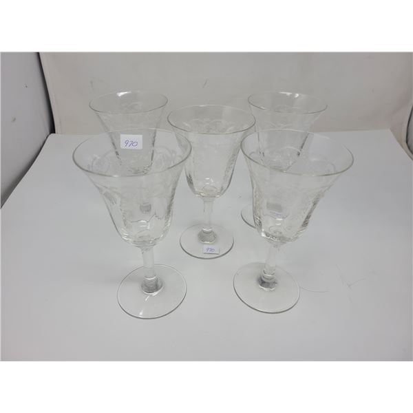 5 wine glasses, etched