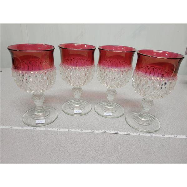 4 water glasses ruby edge diamond point