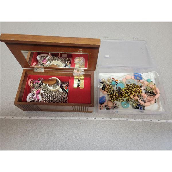 Jewelry box plus container of jewelry