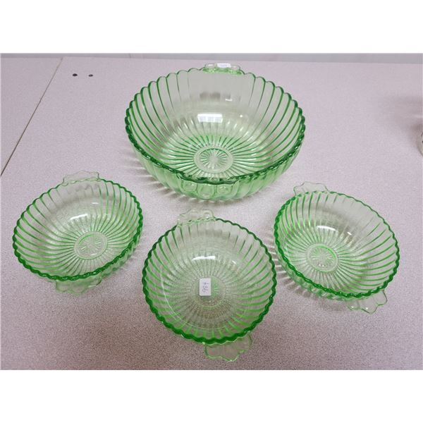 Berry bowl 3 nappies green depression glass