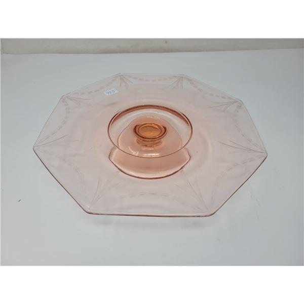 Pink depression glass cake plate