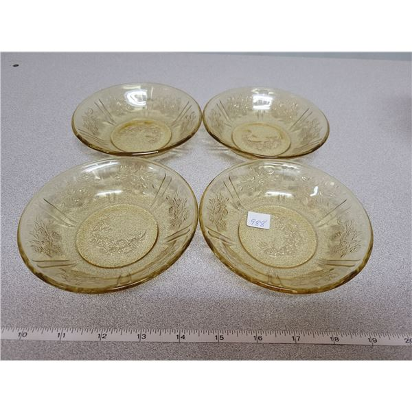 4 amber dessert bowls depression glass (Sharron)