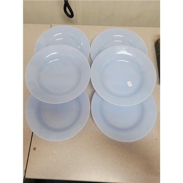 6 blue glass soup bowls