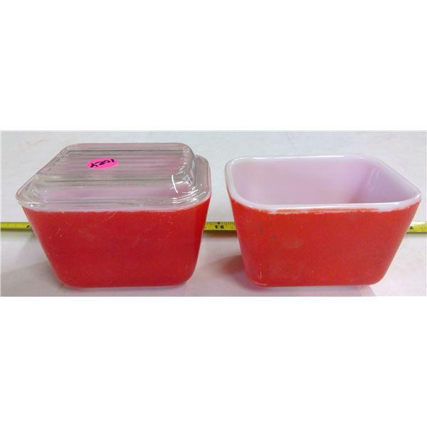 2 - Pyrex Red Fridge Bowls