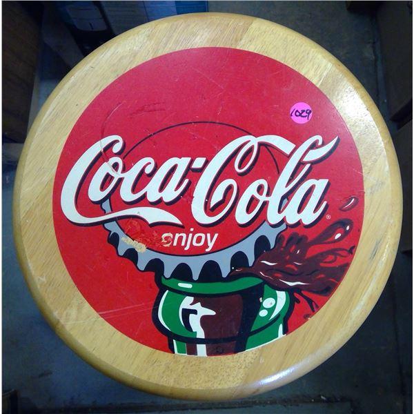Coca Cola Stool - Metal Legs, Wood Seat